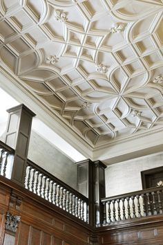 a gorgeously grand molded ceiling