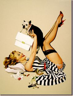 """My favorite pin up of all time!  """"Lucky Dog"""" by Gil Elvgren."""