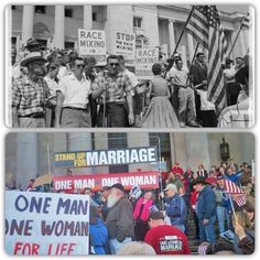"""""""Protecting marriage"""" 40 yrs ago vs. yesterday.  I think these are all the exact same people."""