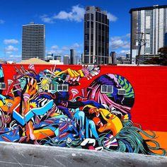 Part of a brand new mural by the Brazilian duo Bicicleta Sem Freio in Honolulu Hawaii with @justkidsofficial for @powwowworldwide #streetart #streetartnews @bicicletasemfreio @flash_girl by streetartnews