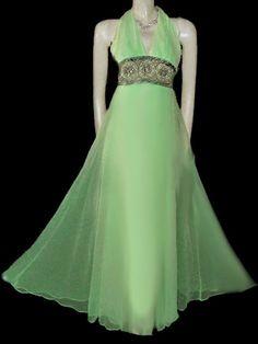 3329b867801 Vintage Jack Bryan Chiffon Evening Gown Stole Rhinestones Pearls Beads in  Sea Siren beaded gown vintage dress jack bryan dress