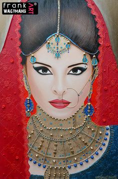 """Amazing! Very large canvas painting 'Oriental Breeze' (70.9"""" x 47.2""""). Exclusive portrait of an Indian Bride. Gorgeous mixed-media art by Frank Wagtmans!"""