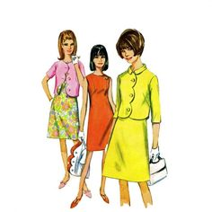 1960s Womens Dress Scalloped Jacket Simplicity 6957 Vintage Sewing Pattern