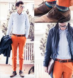 Spadari S6 Shirt, Gap Orange Chinos, Cole Haan Braided Leather Belt, Warby Parker Neville Glasses