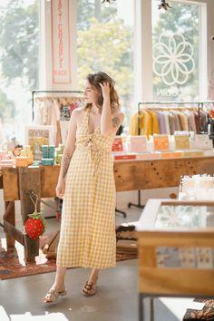Bow tie vichy print dress Great Cuts, Little Dresses, Fun Prints, Slow Fashion, Feminine, Bow, Casual, Shopping, Style