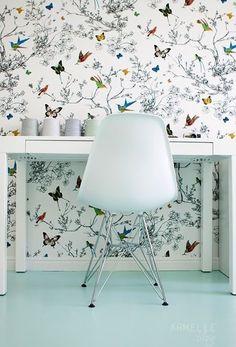 Lynn Chalk - Schumacher Birds and Butterflies Fabric Multi on White, $69.99 (http://store.lynnchalk.com/schumacher-birds-and-butterflies-fabric-multi-on-white/)