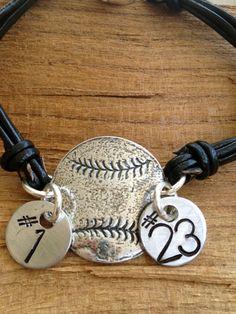 Leather Hand Stamped Baseball Bracelet 2 Tags **3 Week Turn Around Time**-hand stamped leather baseball bracelet