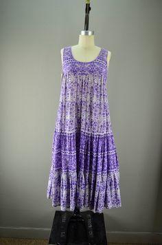 1970s lilac purple Festival dress size medium 70s by melsvanity, $68.00
