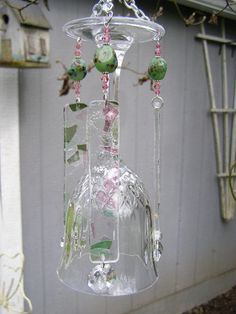 Crystal Wine Glass Wind Chime accented w/Confetti Glass by hbhill, $25.00