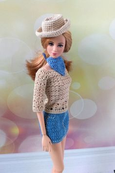 Barbie doll clothes. Cowboy style outfit / Texas hat / Wild West scarf / Denim skirt / Fancy blouse / 4-pieces set for 12 inch Barbie dolls