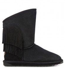 Emu černé válenky Woodstock Black s třásněmi Emu, Woodstock, Wedges, Shoes, Black, Fashion, Moda, Zapatos, Shoes Outlet