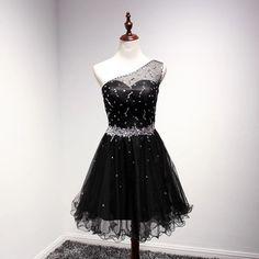 One-Shoulder Homecoming Dress,Organza Homecoming Dress,Beading Homecoming Dress,Short Prom Dress