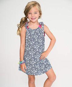 2ff86c5228ba Blue   White Damask Tie-Shoulder Shift Dress - Toddler