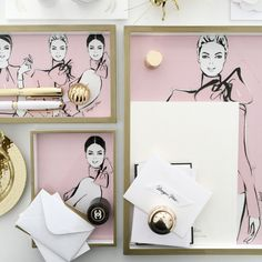 Blush Couture Collection - set of three - Megan Hess Kerrie Hess, Megan Hess, Desk Tray, Perfect Christmas Gifts, Couture Collection, More Fun, Luxury Branding, Pretty In Pink, Illustrators