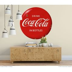 For a vintage sign look the Drink Coca-Cola in Bottles Red Disc wall decal can be applied and removed easily. Sticks to most flat surfaces and removes cleanly. Available in and 48 inch sizes. Made in the USA. Retro Living Rooms, Living Room Decor, Coca Cola Decor, Wall Borders, Metal Panels, Panel Art, Vintage Christmas, Wall Decals, Design Inspiration