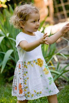 Hankie Babies vintage hankie dress-- Flossie style  T-shirt with skirt made of vintage floral hankie patchwork skirt.