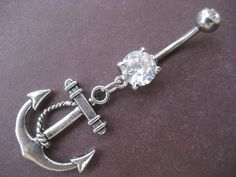 Anchor Belly Button Ring Navel Piercing Jewelry- Nautical Charm Dangle. $12.00, via Etsy.