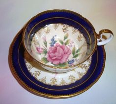 Cobalt Pink Rose Aynsley Tea Cup and Saucer | eBay