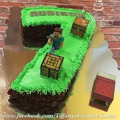 Number 7 Minecraft cake with 'chocolate dirt'.  - Springboro, Ohio - Tiffany's Creative Cakes