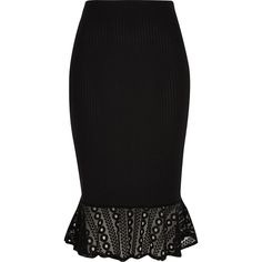 River Island Black ribbed jersey frill pencil skirt ($50) ❤ liked on Polyvore featuring skirts, high waisted pencil skirt, high waisted midi skirt, jersey pencil skirt, jersey knit skirt and high-waisted skirts