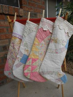 I could use that old quilt that my mom tried to make me and fell apart to repurpose it for Christmas stockings! 34 years in a box no more!