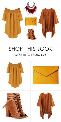 """""""Off Shoulder Dress: Dessert Night"""" by natalieannavictoria on Polyvore featuring MANGO, Rebecca Minkoff, Gianvito Rossi and WithChic"""
