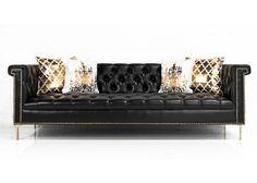 Sinatra Sofa in Faux Black Leather   ModShop