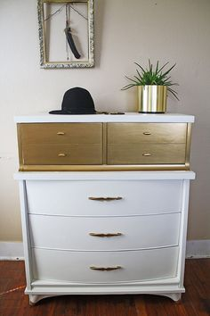 Gold and White Chest of Drawers by HayleonVintage on Etsy, $550.00