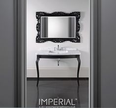 Radcliffe Oban console with black satin legs #imperialbathrooms #madeinengland #luxurybathroom