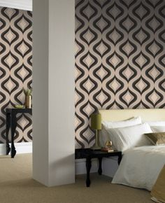 Trippy: Charcoal Wallpaper for bedroom wall or master bathroom