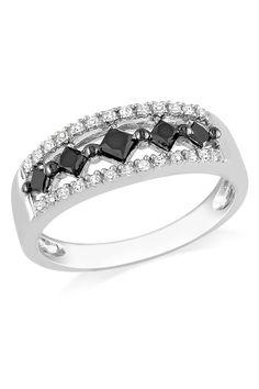 0.5 ct White & Black Diamond Fashion Ring In Silver Like Capri Jewelers Arizona on Facebook for A Chance To WIN PRIZES ~ www.caprijewelersaz.com
