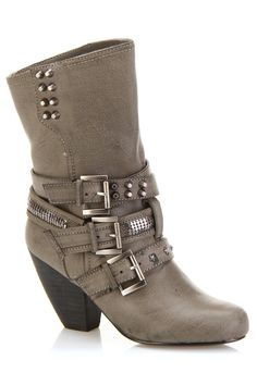 Grey Buckle Studded Boot