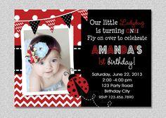 Ladybug Birthday Invitation 1st Birthday by TheTrendyButterfly,