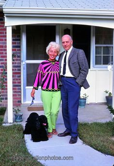 Lime green pants and funky top, 1969.  i pretty much love this lady's outfit.