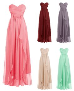 Mix Color A-line Sweetheart Strapless Chiffon Long Bridesmaid Dress #prom #evening
