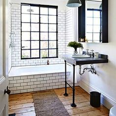 Upstate bathroom inspiration  #subwaytile #pedestalsink #wideplank #casementwindows