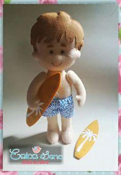Boneco surfista feltro