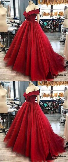 Red Long Prom Dress Off the Shoulder Tulle A-Line Evening Dress,HS399 #fashion #shopping #dresses #eveningdresses #2018prom