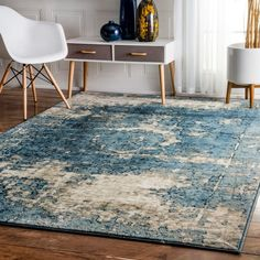 Maison Rouge Elaine Traditional Vintage Fancy Blue and Grey Rug (7'10 x 11'2)
