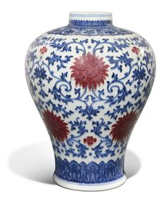 A copper-red and underglaze blue vase, meiping, Qianlong seal mark and period (1736-1795)