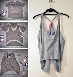 😏 💡 diy workout t-shirt, reuse your man's old t-shirts 💡 😏. Diy Cut Shirts, Old Shirts, T Shirt Diy, Diy Fashion, Ideias Fashion, Fashion Beauty, Reuse Old Clothes, Diy Summer Clothes, Diy Clothes Refashion