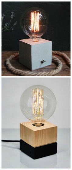 Moderne Lampen mit Edison-Glühbirne und geometrischem Sockel, Lampe aus Holz oder Beton / modern and geometrical lamp made of wood or concrete made by IndustrialRepublic via DaWanda.com