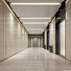 Tianan Yungu Industrial Park Phase I Southern District Office Building - Office Space. dolls collected into the elevator _ petals Lobby Interior, Office Interior Design, Space Interiors, Office Interiors, Elevator Lobby Design, Hotel Corridor, Hotel Hallway, Office Ceiling, Corridor Design