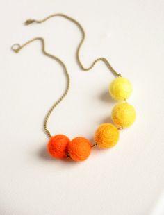 Summer sun necklace, Bright felt necklace, Fun jewelry, Summer holiday, Everyday necklace, Bright orange, Yellow necklace, Hippie, Dip dye