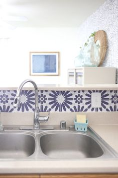 How to Add a Peel and Stick Kitchen Backsplash in a Rental Industrial Office Design, Modern Office Design, Office Interior Design, Office Designs, Peel N Stick Backsplash, Stick On Tiles, Kitchen Backsplash, Rental Decorating, Decorating Tips