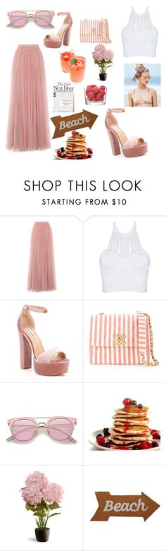 """Family Brunch"" by courtne-scott ❤ liked on Polyvore featuring Little Mistress, Steve Madden, Chanel, Beach Riot, National Tree Company, Mud Pie and LSA International"