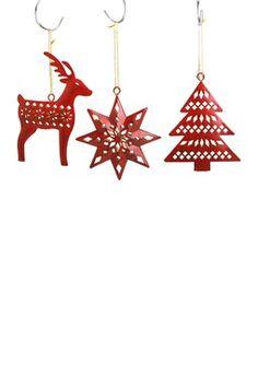 Nordic Winter Metal Ornaments - Set of 6