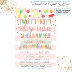 Two Tti Frutti Party Invitation 2nd Birthday