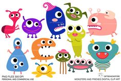Monsters and friends Digital clip art  for by Giftseasonstore, $2.00