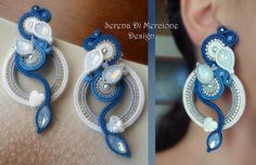 Soutache Earrings - Designed by Serena Di Mercione Jewelry Knots, Boho Jewelry, Beaded Jewelry, Jewelry Design, Jewellery, Shibori, Soutache Tutorial, Soutache Necklace, Earrings Handmade